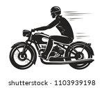biker rides a retro motorcycle  ... | Shutterstock .eps vector #1103939198