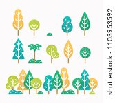 different trees and bushes set.  | Shutterstock . vector #1103953592