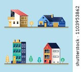 set of houses. suburban house ... | Shutterstock . vector #1103953862