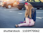 a fashionable little cute girl... | Shutterstock . vector #1103970062