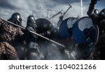 Stock photo large battle between medieval warriors medieval reenactment 1104021266