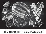 ink hand drawn set of fruits  ... | Shutterstock .eps vector #1104021995
