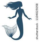 mermaid  silhouette  hand drawn ... | Shutterstock .eps vector #1104025058