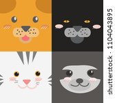 cute animals faces collection... | Shutterstock .eps vector #1104043895