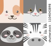 cute animals faces collection... | Shutterstock .eps vector #1104043898