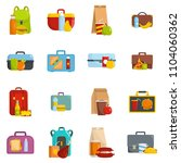 lunchbox food icons set. flat... | Shutterstock . vector #1104060362