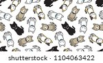 Stock vector cat seamless pattern kitten vector scarf isolated background repeat wallpaper cartoon 1104063422