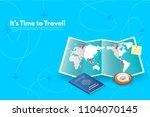 traveler's accessories.... | Shutterstock .eps vector #1104070145