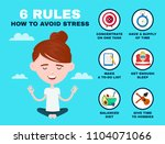 6 rules to avoid stress... | Shutterstock . vector #1104071066