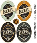 four labels for beer in a retro ... | Shutterstock .eps vector #110407502