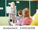 confident young teacher showing ...   Shutterstock . vector #1104126548