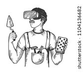 builder in virtual reality... | Shutterstock .eps vector #1104136682