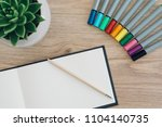 notebook sketch colorful pens | Shutterstock . vector #1104140735