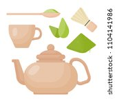 matcha tea vector flat icon set ... | Shutterstock .eps vector #1104141986