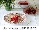 a hearty homemade breakfast or... | Shutterstock . vector #1104150542