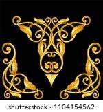 gold baroque frame scroll   Shutterstock .eps vector #1104154562