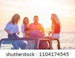 five young people having fun in ... | Shutterstock . vector #1104174545