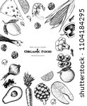 vector frame with organic food. ...   Shutterstock .eps vector #1104184295