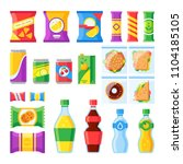 vending products. snacks  chips ... | Shutterstock .eps vector #1104185105