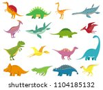 adorable comic dinosaurs... | Shutterstock .eps vector #1104185132