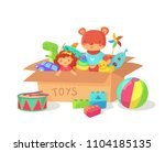 cartoon kids toys in cardboard... | Shutterstock .eps vector #1104185135