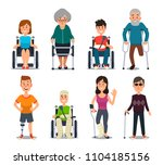 disablement person. smile young ... | Shutterstock .eps vector #1104185156