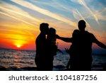 young adult summer beach party... | Shutterstock . vector #1104187256