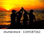 young adult summer beach party... | Shutterstock . vector #1104187262
