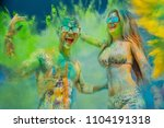 young friends colored with... | Shutterstock . vector #1104191318