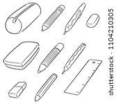 vector set of pencil case | Shutterstock .eps vector #1104210305