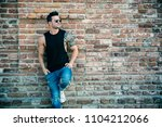 attractive muscular man...   Shutterstock . vector #1104212066