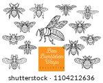 honey bee bumblebees wasps set... | Shutterstock .eps vector #1104212636