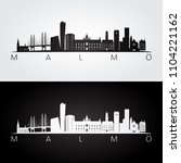 malmo skyline and landmarks... | Shutterstock .eps vector #1104221162