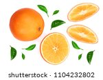 orange with slice and leaf... | Shutterstock . vector #1104232802