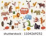 big set of wild animals cartoon ...   Shutterstock .eps vector #1104269252