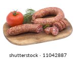 sausage with tomato and dill on ... | Shutterstock . vector #11042887