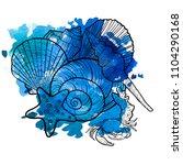 vector seashells at blue...   Shutterstock .eps vector #1104290168