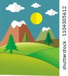 landscape painting in paper cut ... | Shutterstock .eps vector #1104305612