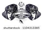 portriat of extraordinary alien ... | Shutterstock .eps vector #1104313385