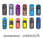 group of cars on top view... | Shutterstock . vector #1104315275