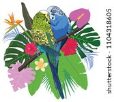 parrot tropical collection | Shutterstock .eps vector #1104318605