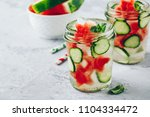 infused detox water with... | Shutterstock . vector #1104334472