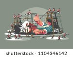 gulliver lies bound by ropes.... | Shutterstock .eps vector #1104346142