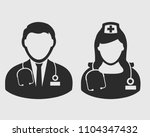 doctor and nurse icon on gray...   Shutterstock .eps vector #1104347432