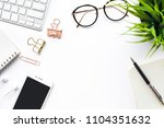 top view of office desk table... | Shutterstock . vector #1104351632