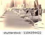 toned photo. banquet hall in... | Shutterstock . vector #1104354422