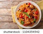 homemade meat balls with... | Shutterstock . vector #1104354542