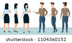 flat design young man and woman ... | Shutterstock .eps vector #1104360152