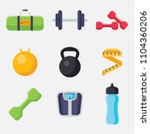 set of gym and fitness icons in ... | Shutterstock .eps vector #1104360206