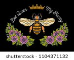 bee crown flowers embroidery...   Shutterstock .eps vector #1104371132